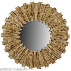 Nautical #wooden sunburst wall mirror bathroom / bedroom #round #mirrors,  View more on the LINK: http://www.zeppy.io/product/gb/2/142003514396/