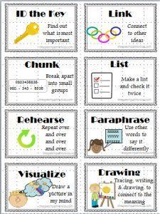 Visual cues to use when teaching memory strategies