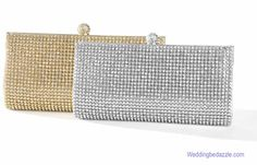 A dressy evening cocktail party evening bag in silver or gold and covered with dazzling crystals. This evening clutch bag is from the Mariell collection of bridal purses and formal occasion bags. The evening bag measures 9 inches wide by 4 inches tall and comes with a both a shoulder and wrist strap for ease in carryng. Elegant little handbags for your most formal or dressy occasions