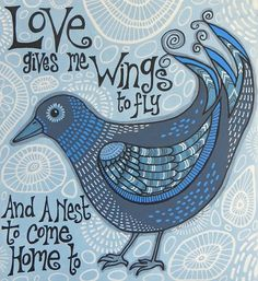 Rosie's Arty Stuff: LOVE GIVES ME WINGS .....