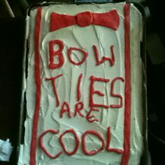 Doctor Who bow ties are cool cake, our own recipe. Finished product, just before being consumed by a bunch of whovians.