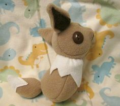 Squishy Handmade Eevee Pokemon Plushie, Geeky, Unique Gift for Video Game Lovers, Nerds, and Kids, Original Geek Toy