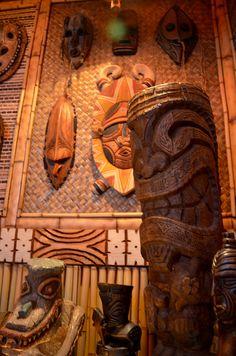 The Desert Oasis Room . a tiki room Tiki Art, Tiki Tiki, Tiki Hawaii, Tiki Head, Tiki Statues, Tiki Bar Decor, Tiki Lounge, Vintage Tiki, Handmade Furniture