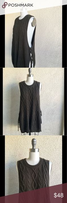 Free People New Romantics Charcoal Knit Tunic -cotton(content tag removed) -Oversized fit -labeled size medium -dress form is a size 2 -double side ties -low arm holes Free People Sweaters Crew & Scoop Necks