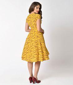 566ed67e2 Unique Vintage Mustard Yellow   Red Floral Print Amelia Swing Dress Plus  Size Retro Dresses