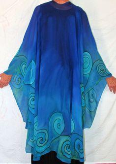 Blue silk cape The Goddess of Water blue by HeavenOnEarthSilks