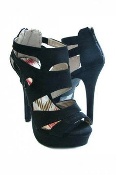BLACK FAUX SUEDE PLATFORM CUT OUT BACK ZIPPER HIGH HEEL SANDAL @ KiwiLook fashion