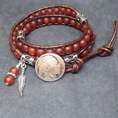 Southwestern Bracelet, Native American double wrap with Red Matte Agate on Leather, Indian Head nickle button, Unisex bracelet. by KarenMSmithDesigns on Etsy