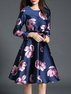 a4da8ac31 Shop Midi Dresses - Blue Bateau/boat Neck Long Sleeve Printed Midi Dress  online.