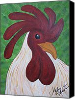 Folk Art Chicken Canvas Prints - Keeping Watch II Canvas Print by Molly Roberts