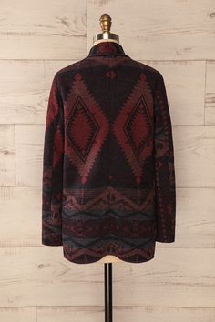 Kufstein - Rust and black patterned open jacket