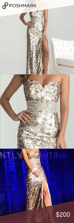 Gold Sequin Prom Dress by Night Moves by Allure Light gold strapless sequin gown with sweetheart neckline -Size 4 - according to size chart - size 4 is  Bust 33, Waist - 25.5, Hips - 36.5 - worn once in pageant - excellent condition - no rips, tears, alterations, and no missing sequins Night Moves Prom Collection Dresses Prom