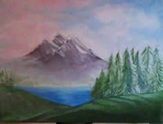 """try at landscape painting ( after watching """" The joy of painting with Bob Ross"""" The Joy Of Painting, Bob Ross, Landscape Paintings, Photography, Art, Kunst, Photograph, Fotografie, Fotografia"""