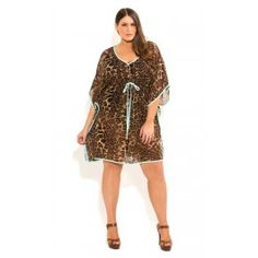 fantastic swim cover up!!! Love love love!!!  #plussizefashion #plussizeclothing #plussize #WandH #westandharlowgirl  Intensify your animal magnetism with this Animal Print Kaftan. Boasting an all over Animal print, this lightweight kaftan features a V-neckline, drawstring front accented with cute beads, batwing sleeves and a striking contrast trim.