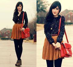 Cute bag, shoes, and knitted tights... different colored skirt and lose that top!