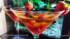 Con pan y postre: Bloodhound Cóctel con Fresones / Bloodhound Cockta. Alcoholic Drinks, Cocktails, Bloodhound, Martini, Strawberry, Wine, Tableware, Glass, Food