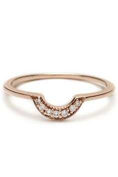 Yet again w/ dif WEDDING band style:)  http://www.refinery29.com/43010#slide9  Anna Sheffield Rose Gold Tiny Crescent Band, $855, available at Gallery of Jewels.