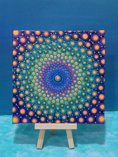 Dot Mandala Painting 6x6 inch Canvas Board Original Art by Kaila Lance, signed This bright and beautiful mandala painting is so full of energy and light. Painted with acrylic paints on a 6x6 inch canvas board in a very intricate dotillism technique, creating this amazing mandala. I used