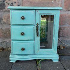 Shabby Chic Turquoise Jewelry Box