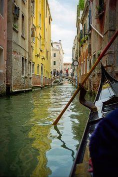 Dining room travel decor yellow water venice italy gondola alleyway ferro boat serenade colorful romantic Albergo Bel Sito fine art photo. $35.00, via   http://travelaccessorystuff.blogspot.com