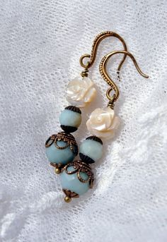 Heirloom earrings antique style amazonite blue by MoodsWingz, $72.00