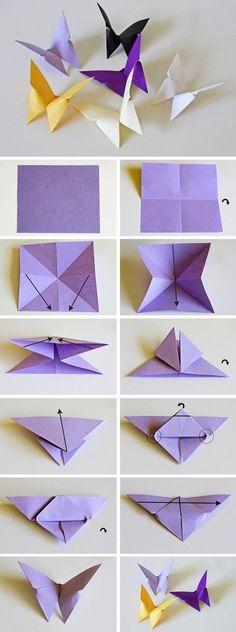papillons décoratifs pliage origami