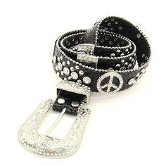 Women's Rhinestone & Studs Peace Sign Leather Belt - Black  $69.99  www.wantedwardrobe.com  #fashion #belts #western