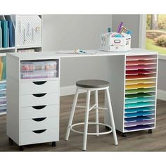 Craft Tables With Storage, Craft Room Tables, Ikea Craft Room, Craft Desk, Cricut Craft Room, Craft Room Storage, Room Organization, Storage Spaces, Paper Storage