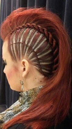 Punk style plaits & twisted hair