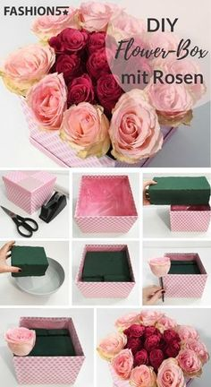 FLOWER BOX DIY – Self Made Rosenbox Are you looking for a unique gift for your loved ones? How about a flower box as a surprise? The flower box is currently an absolute trend and a perfect eye catcher in the home. Diy Flower Boxes, Flower Box Gift, Diy Flowers, Paper Flowers, Flowers In A Box, Money Flowers, Luxury Flowers, Diy Gift Box, Diy Box