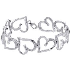10K White Gold Round Cut Diamond Heart Link Ladies Tennis Link... (22.785 RUB) ❤ liked on Polyvore featuring jewelry, bracelets, diamond jewellery, white gold diamond bangle, heart jewellery, diamond bangles and white gold jewellery