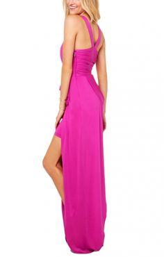Deep V-neck Sleeveless Shirred Maxi Party Dress