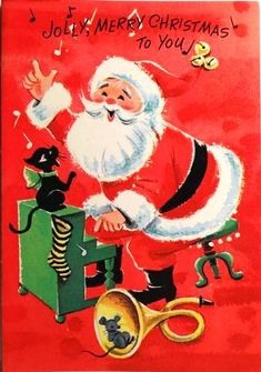 Unused Santa Cat at the Piano Cut Out Vintage Christmas Greeting Card Christmas Card Images, Vintage Christmas Images, Merry Christmas To You, Old Christmas, Old Fashioned Christmas, Vintage Holiday, Christmas Pictures, Christmas Greetings, Christmas Things