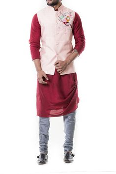 Featuring a maroon cowl kurta set with grey churidar with pink waist coat embroidered with thread.FABRIC SPECIFICATION: The kurta is made of cotton by silk and churidar is of cotton silk and the jacke. Indian Groom Wear, Indian Wear, Tall Men Fashion, Mens Fashion, High Fashion, Wedding Wear, Wedding Suits, Kurta Pajama Men, Top Clothing Brands