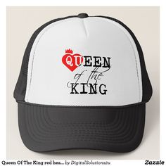 Queen Of The King red heart and a crown Trucker Hat Valentines Day Couple 04202c56997b