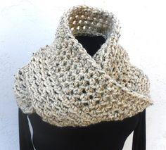 Crochet Long Wool Infinity Scarf Pick color - Men or Women by Tejidos