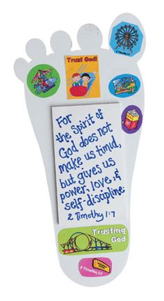 """Stand Strong Foot Note Holders (217-850) from Guildcraft Arts & Crafts! Have the kids write 2 Timothy 1:7 on this note holder as a daily reminder of the 2013 VBS verse. Includes precut cardboard feet, note pads, VBS stickers and glue. 8"""" x 4""""."""