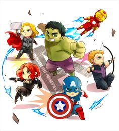 """Chibi-Avengers // artwork by KadeArt (2012) Apparently Earths Cutest Heroes"""" works just fine too."""