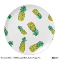 Melamine Plate with Pineapple Pattern- Zazzle.com