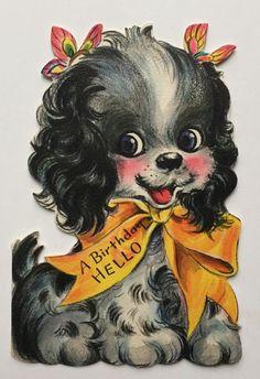 Puppy in Yellow Ribbon Vintage Hallmark Children's Birthday Card Used - Avid Vintage Vintage Birthday Cards, Kids Birthday Cards, Vintage Valentines, Birthday Greeting Cards, Birthday Greetings, Birthday Images, Birthday Quotes, Happy Birthday, Retro Birthday