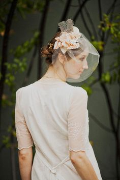Hat fascinator with blush silk blossoms guinea by mignonnehandmade, $165.00