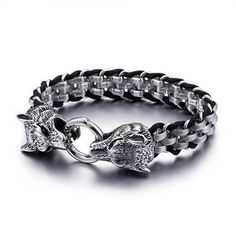 Buy TrustyLan Punk Rock Man Jewelry Stainless Steel With Genuine Leather Wrap Bracelet Men Cool Double Wolf Head Animal Armband Punk Jewelry, Boho Jewelry, Jewelry Accessories, Vintage Jewelry, Fashion Jewelry, Jewellery, Bracelets Wrap En Cuir, Bracelets For Men, Charm Bracelets