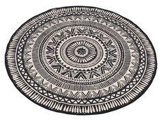 Tapis rond en coton motifs ethniques noir/blanc D.120cm BOHEMIAN CHRISTMAS