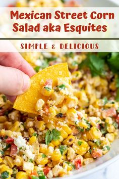 This Mexican Street Corn Salad comes together in one big bowl and is SO simple to make! The perfect summer side dish! Mexican Side Dishes, Vegan Side Dishes, Summer Side Dishes, Veggie Dishes, Side Dish Recipes, Corn Salad Recipes, Corn Salads, Corn In The Oven, Vegetarian Recipes