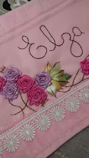 LOY HANDCRAFTS, TOWELS EMBROYDERED WITH SATIN RIBBON ROSES: TOALHA PERSONALIZADA