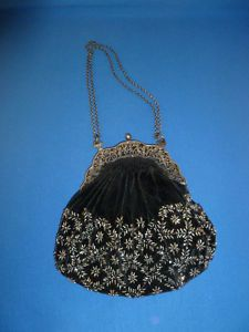 Vintage Velvet and Silver Beaded Evening Bag with Silver Metal Repousse Handle