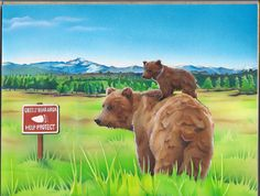 Endangered Species Day art contest 6-8 grade category semi-finalist: Sky Waters, Age 14, Grizzly bear
