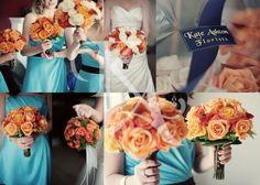 Orange and teal wedding