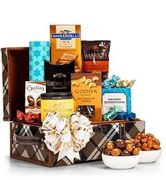 Nuts & Chocolate Holiday Gift Basket - This deluxe collection features award-winning chocolates and sought-after confections from world-famous brands such as Godiva, Ghirardelli, and Marich. Its stylish keepsake chest proudly displays a distinctive plaid design, two leather handles with sturdy brass rivets, solid wood construction... - http://giftbasketblessings.com/product/nuts-chocolate-holiday-gift-basket/