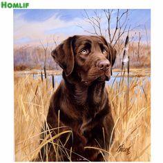 HOMLIFdiy diamant schilderen hond kruissteek hars steen geplakt schilderen ronde boor handwerken schilderen volledige diamond schilderen